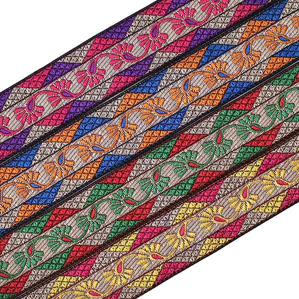 インド 小花柄 チロリアンテープ(ピンク 幅3cm/1m単位売り)