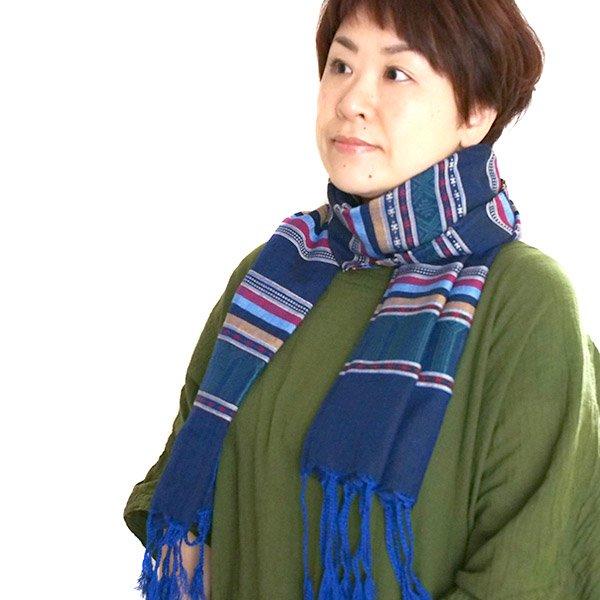 ベトナム 少数民族 ターイ族 手織りのストール(ブルー)【画像6】