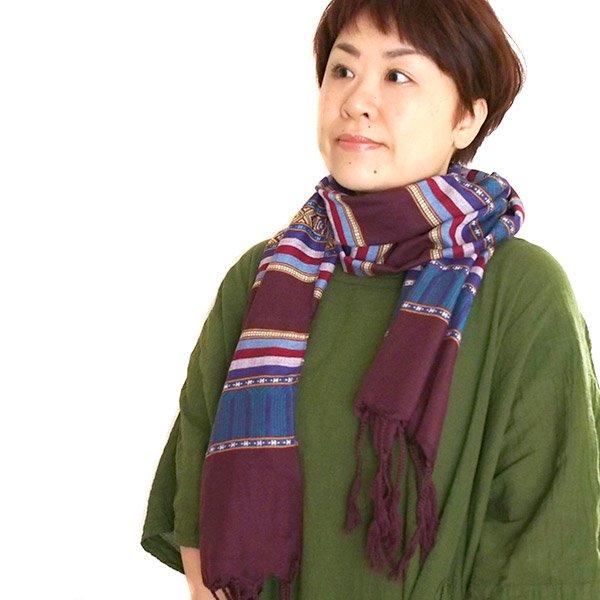 ベトナム ターイ族 手織りのストール(ブラウン1)