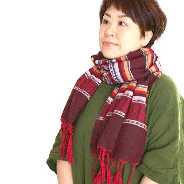 ベトナム ターイ族 手織りのストール(ブラウン2)