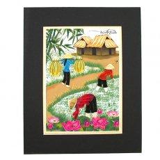Quilling Art (クイリング アート) ベトナム クイリングアート 【Quilling art】25×20 田植えをする女の子