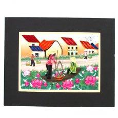 Quilling Art (クイリング アート) ベトナム クイリングアート 【Quilling art】20×25 蓮の花に囲まれて