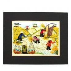アオザイモチーフ ベトナム クイリングアート 【Quilling art】20×25 収穫はいそがしい