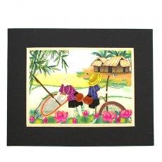 Quilling Art (クイリング アート) ベトナム クイリングアート 【Quilling art】20×25 網で魚を取る子供たち