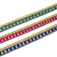 インド チロリアンテープ スパンコール3色 (幅2cm/1m単位売り)