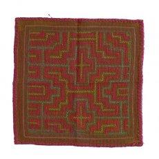 茶・ブラウン 雑貨 ペルー シピボ族 刺繍布 31×31(1点もの)