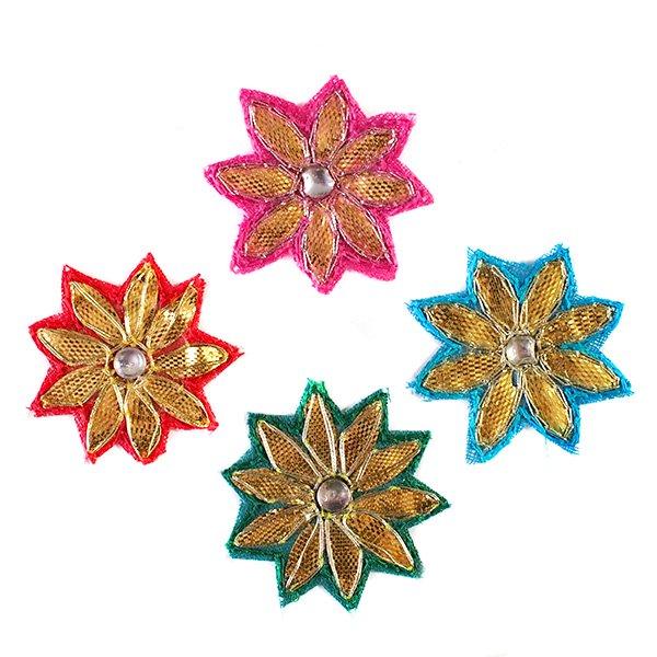 インド 刺繍ワッペン(花  4色)