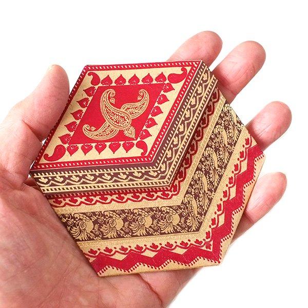 インド  chimanlals (チマンラール)ペイズリーとトリ 六角形 メッセージカード A( 封筒なし)【画像7】