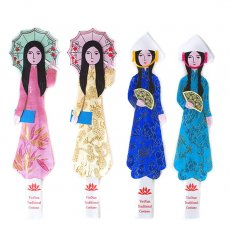 ベトナム アオザイ女の子のしおり(傘・扇子)