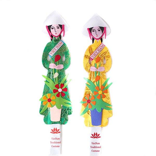 ベトナム しおり(アオザイ女の子 花)