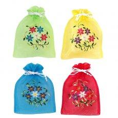 ベトナム 刺繍 巾着(オーガンジー 花 F)