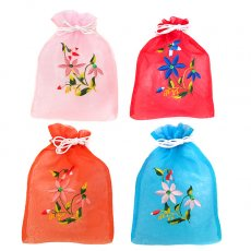 巾着 ベトナム 刺繍 巾着(オーガンジー 花 C 中サイズ 19×14)
