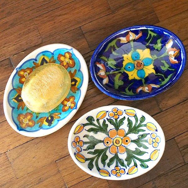 インド   ジャイプール陶器 ブルーポッタリー ソープディッシュ【画像8】