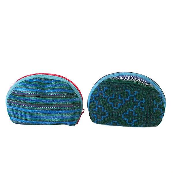 ベトナム 少数民族 モン族 刺繍 ポーチ(小 ブルー&グリーン マチあり)