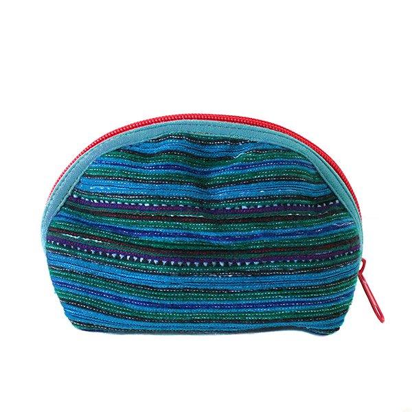 ベトナム 少数民族 モン族 刺繍 ポーチ(小 ブルー&グリーン マチあり)【画像2】