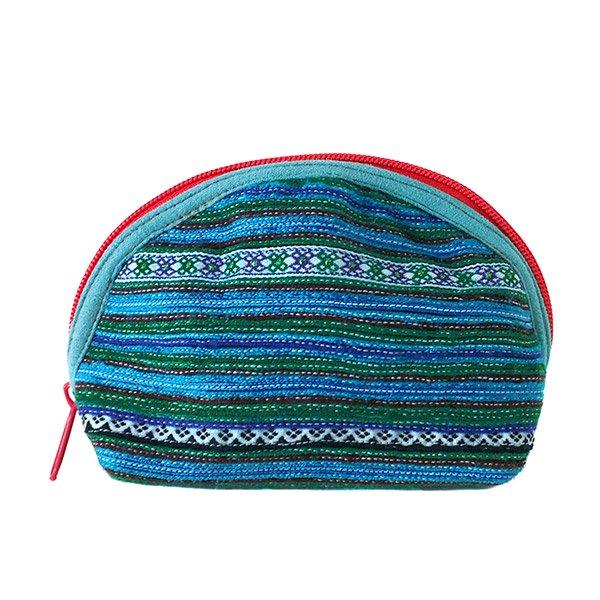 ベトナム 少数民族 モン族 刺繍 ポーチ(小 ブルー&グリーン マチあり)【画像3】