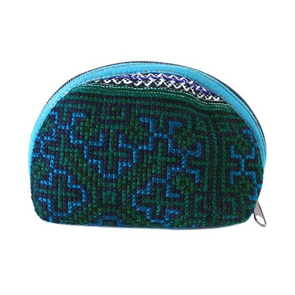 ベトナム 少数民族 モン族 刺繍 ポーチ(小 ブルー&グリーン マチあり)【画像4】