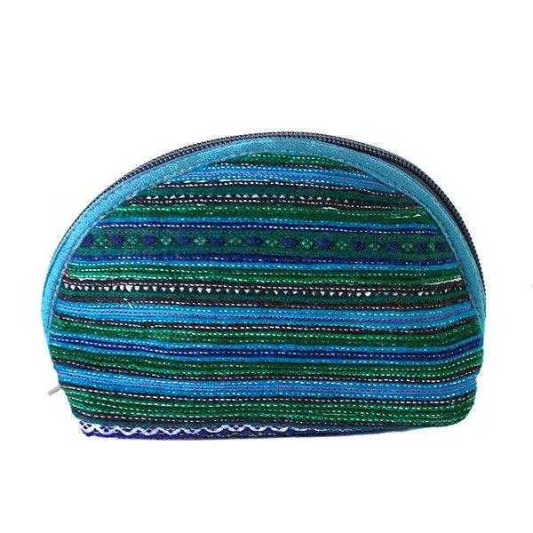 ベトナム 少数民族 モン族 刺繍 ポーチ(小 ブルー&グリーン マチあり)【画像5】
