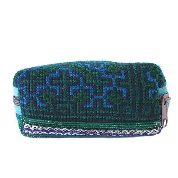 ベトナム 少数民族 モン族 刺繍 ポーチ(小 ブルー&グリーン マチあり)【画像6】