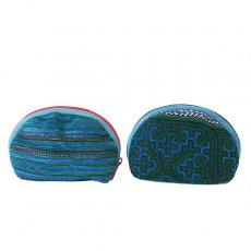 民族の刺繍 ベトナム 少数民族 モン族 刺繍 ポーチ(小 ブルー&グリーン マチあり)