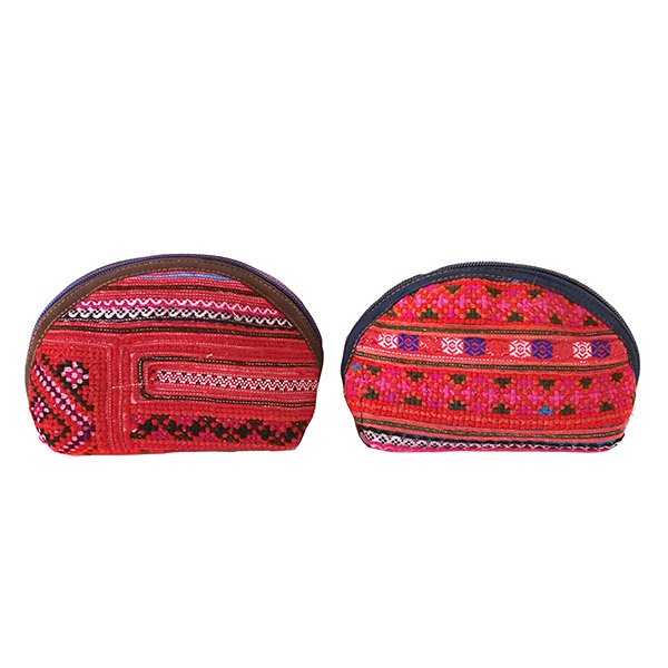 モン族 刺繍 ポーチ(小 マチあり レッド)民族 刺繍 / ベトナム直輸入