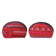 ベトナム モン族 刺繍 ポーチ(小 レッド マチあり)
