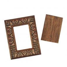 掘り出し物セール  タイ ナガ族刺繍 布 フォトフレーム