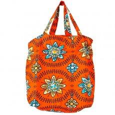 世界に繋がるお買い物 マリ 巾着 エコバッグ(オレンジの花)