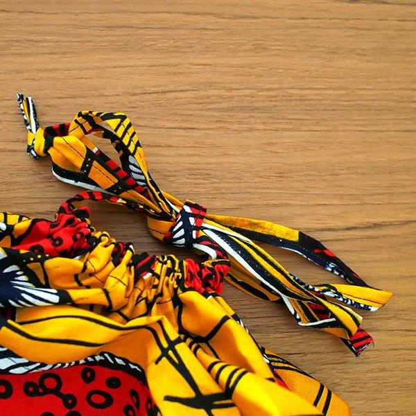 マリ 足踏みミシンで仕立てた パーニュ 巾着 エコ ショルダーバッグ(キノコ)【画像4】