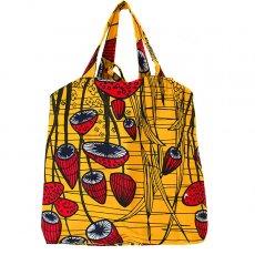 世界に繋がるお買い物 マリ 足踏みミシンで仕立てた パーニュ 巾着 エコバッグ(キノコ)