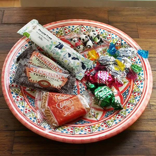 チュニジア SLAMA製 手描き 皿(レッド 24cm)【画像4】