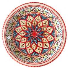 チュニジア SLAMA製 手描き 皿(レッド 24cm)