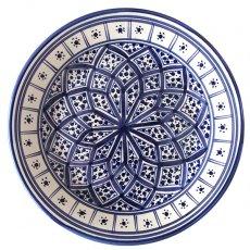 モロッコ・チュニジア 雑貨 チュニジア SLAMA製 手描き 皿(ブルー24cm)