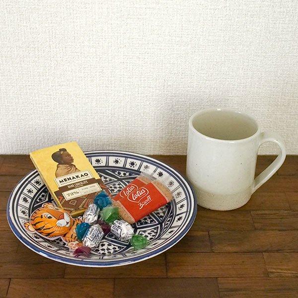 チュニジア SLAMA製 手描き 皿(ブルー 20cm)【画像4】