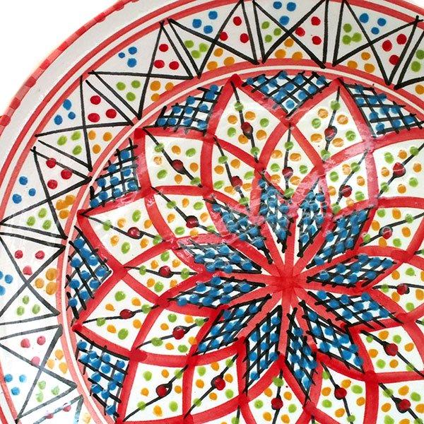 チュニジア SLAMA製 手描き 皿(レッド 20cm)【画像2】