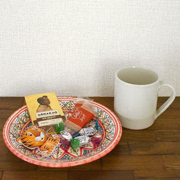 チュニジア SLAMA製 手描き 皿(レッド 20cm)【画像4】