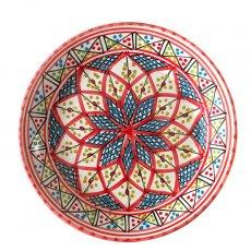 チュニジア SLAMA製 手描き 皿(レッド 20cm)