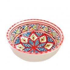 食器 / グラス / 陶器 チュニジア SLAMA製 手描き ミニボウル(レッド 12cm)