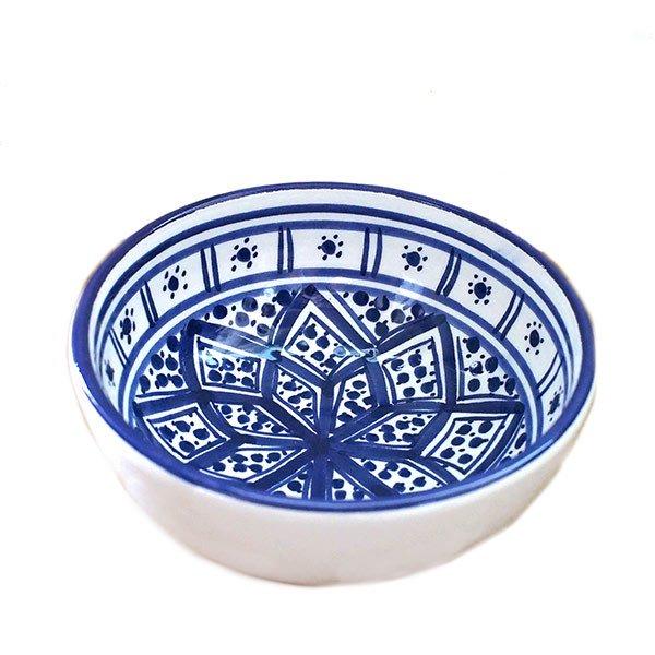 チュニジア SLAMA製 手描き ミニボウル(ブルー 12cm)