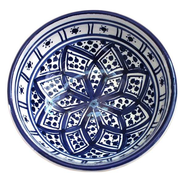 チュニジア SLAMA製 手描き ミニボウル(ブルー 12cm)【画像2】