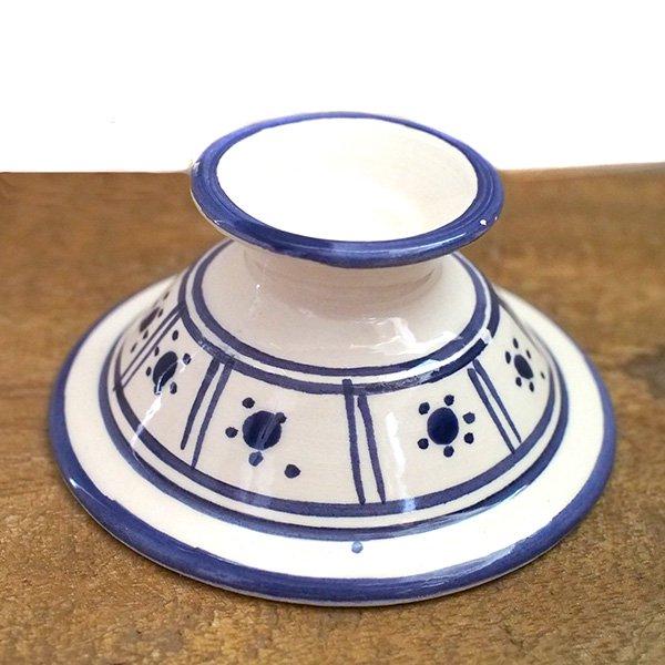 チュニジア SLAMA製 手描き 蓋付き 小物入れ(ブルー 8.5cm)【画像3】