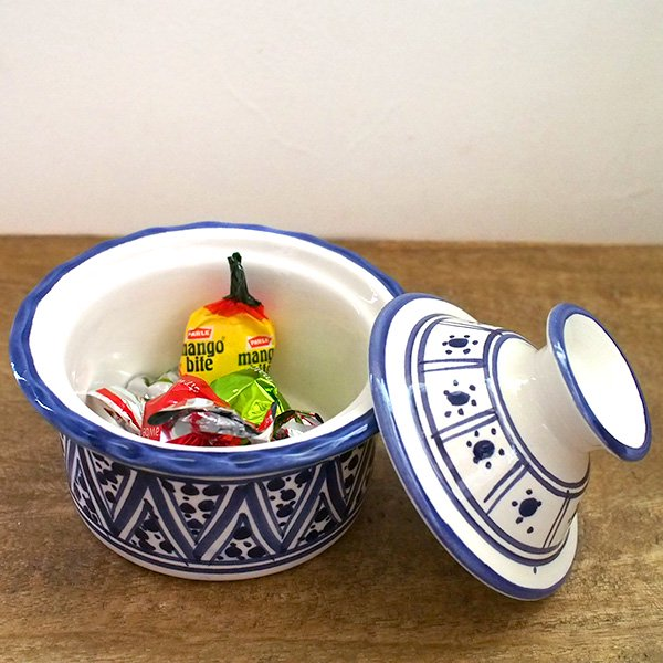 チュニジア SLAMA製 手描き 蓋付き 小物入れ(ブルー 8.5cm)【画像5】