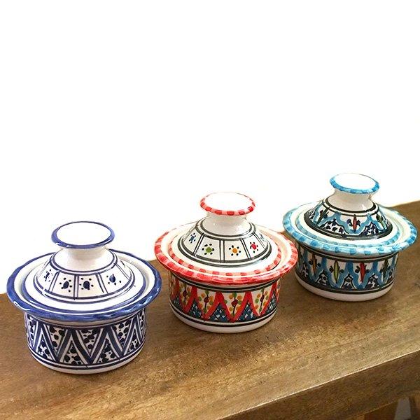 チュニジア SLAMA製 手描き 蓋付き 小物入れ(ブルー 8.5cm)【画像6】