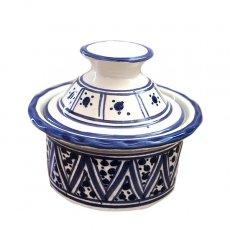チュニジア SLAMA製 手描き 蓋付き 小物入れ(ブルー 8.5cm)