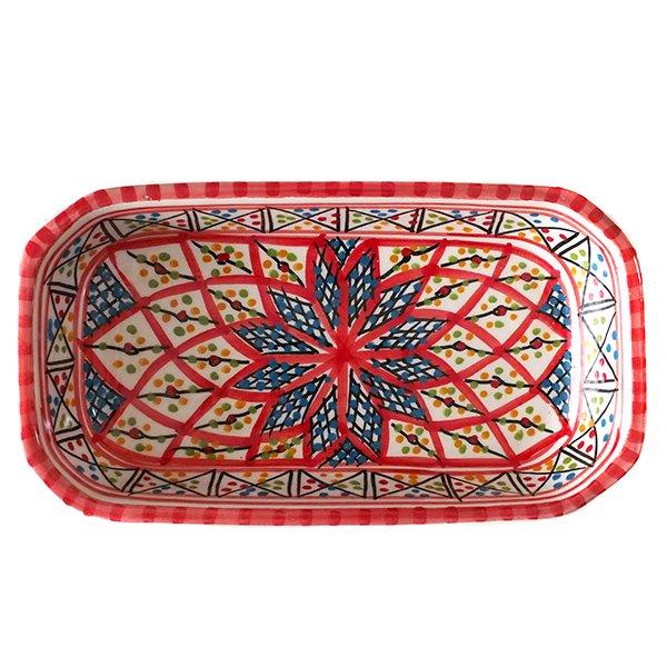 チュニジア SLAMA製 手描き 皿 長方形(レッド)