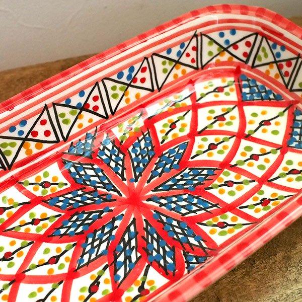 チュニジア SLAMA製 手描き 皿 長方形(レッド)【画像2】