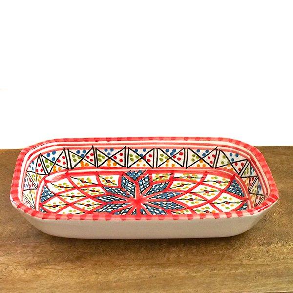 チュニジア SLAMA製 手描き 皿 長方形(レッド)【画像4】