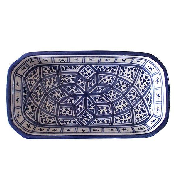 チュニジア SLAMA製 手描き 皿 長方形(ブルー 12.5×23.5)