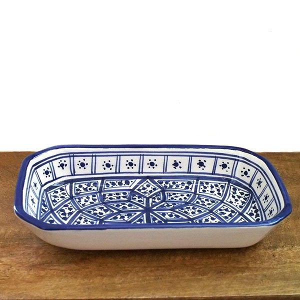 チュニジア SLAMA製 手描き 皿 長方形(ブルー 12.5×23.5)【画像2】