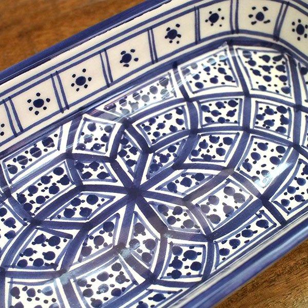 チュニジア SLAMA製 手描き 皿 長方形(ブルー 12.5×23.5)【画像3】